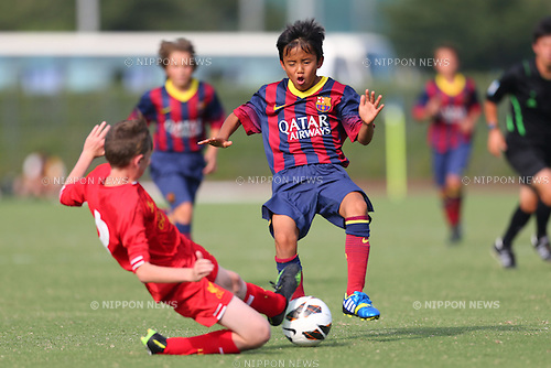 Takefusa Kubo (Barcelona), <br /> August 30, 2013 - Football / Soccer : <br /> U-12 Junior Soccer World Challenge 2013, Final match <br /> between FC Barcelona 5-0 Liverpool FC <br /> at Ajinomoto Stadium West Ground, Tokyo, Japan. <br /> (Photo by Daiju Kitamura/AFLO SPORT) [1045]