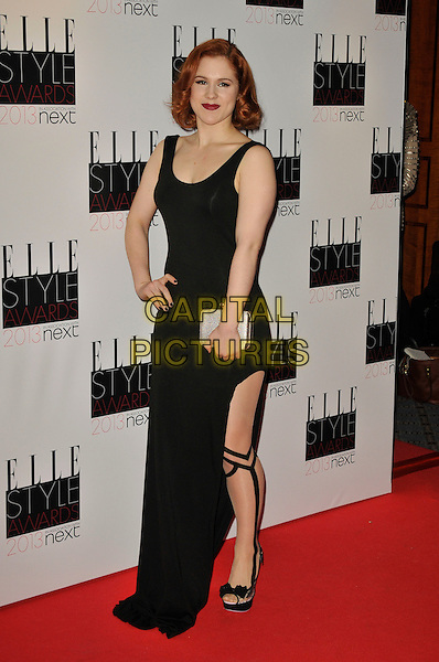 Katy B (Kathleen Anne Brien).The Elle Style Awards 2013 arrivals, The Savoy Hotel, London, England..11th February 2013.full length black dress tights stripe silver clutch bag slit split hand on hip  .CAP/WIZ.© Wizard/Capital Pictures.