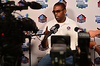 Canton, OH - August 3, 2018:  Former NFL wide receiver Randy Moss holds a media availability during the 2018 Pro Football Hall of Fame Enshrinement Week, August 3, 2018. Moss' career included 982 catches for 15,292 yards and 156 TDs. (Photo by Don Baxter/Media Images International)