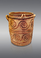 Minoan  bridge spouted jars decorated with swirls, Archanes Palace  1600-1450 BC; Heraklion Archaeological  Museum, grey background.