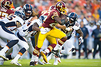 Landover, MD - August 24, 2018: Washington Redskins running back Adrian Peterson (26) runs for a first down during preseason game between the Denver Broncos and Washington Redskins at FedEx Field in Landover, MD. The Broncos defeat the Redskins 29-17. (Photo by Phillip Peters/Media Images International)
