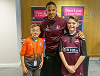 Martin Olsson meets supporters in the 1912 Lounge prior to the Sky Bet Championship match between Swansea City and Bristol City at the Liberty Stadium, Swansea, Wales, UK. Saturday 25 August 2018