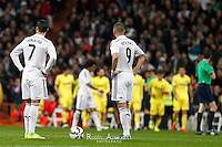 Real Madrid´s Karim Benzema and Players Villareal celebrating goal of Gerard