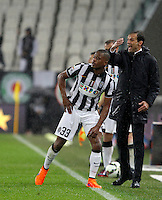 Calcio, Serie A: Juventus vs Lazio. Torino, Juventus Stadium, 18 aprile 2015.<br /> Juventus coach Massimiliano Allegri gestures past his player Patrice Evra, left, during the Italian Serie A football match between Juventus and Lazio at Turin's Juventus Stadium, 18 April 2015.<br /> UPDATE IMAGES PRESS/Isabella Bonotto