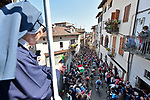 The peloton climb the Muro of Via Principi di Acaja in Pinerolo near the end of Stage 12 of the 2019 Giro d'Italia, running 158km from Cuneo to Pinerolo, Italy. 23rd May 2019<br /> Picture: Fabio Ferrari/LaPresse | Cyclefile<br /> <br /> All photos usage must carry mandatory copyright credit (© Cyclefile | Fabio Ferrari/LaPresse)