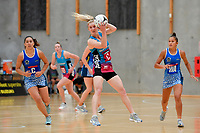 Steel Shannon Saunders in action during the Netball Pre Season Tournament - Mystics v Steel at Ngā Purapura, Otaki, New Zealand on Saturday 9 February  2019. <br /> Photo by Masanori Udagawa. <br /> www.photowellington.photoshelter.com