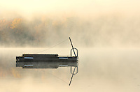 Dock in fog on Horseshoe Lake<br /> Horseshoe Lake<br /> Ontario<br /> Canada