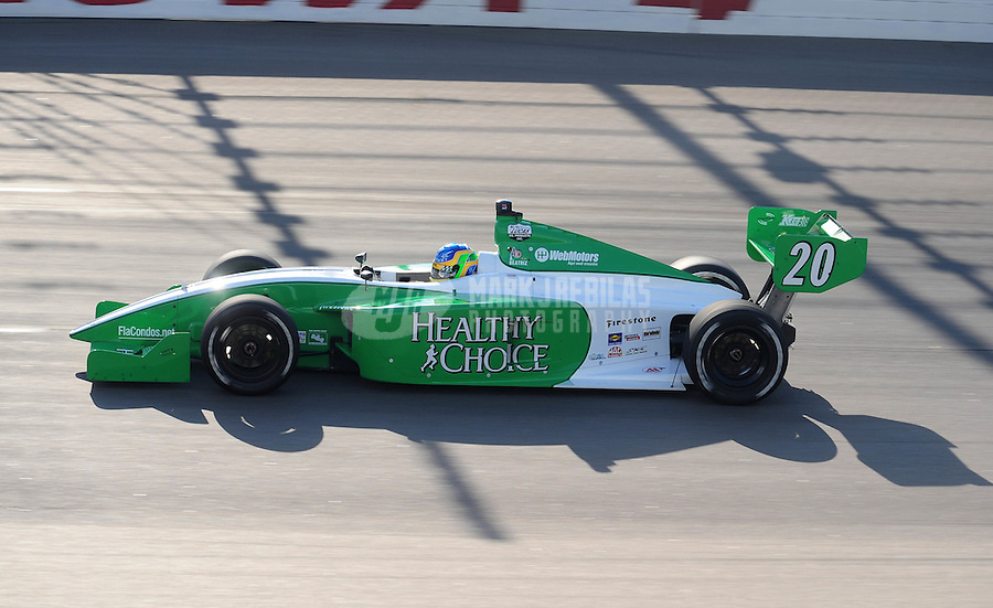 Jun. 20, 2008; Newton, IA, USA; Indy Light Series driver Ana Beatriz during qualifying for the Jeld Wen 100 at the Iowa Speedway. Mandatory Credit: Mark J. Rebilas-