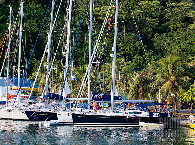 Man on bow of yacht with signal flags raised, tied to dock