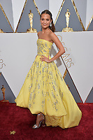 Alicia Vikander at the 88th Academy Awards at the Dolby Theatre, Hollywood.<br /> February 28, 2016  Los Angeles, CA<br /> Picture: Paul Smith / Featureflash