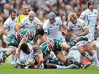 Aviva Premiership. Leicester, England. Sireli Naqelevuki of Exeter Chiefs tackled during the Aviva Premiership match between Leicester Tigers and Exeter Chiefs at Welford Road on September 29. 2012 in Leicester, England.