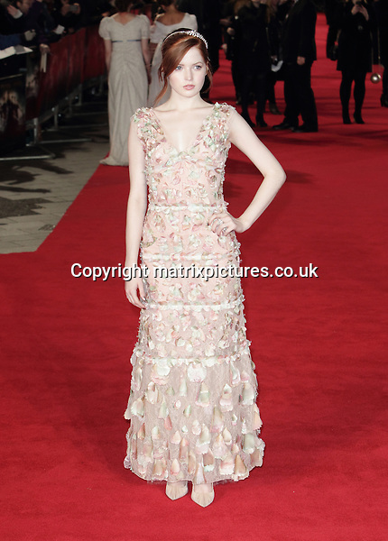 NON EXCLUSIVE PICTURE: MATRIXPICTURES.CO.UK<br /> PLEASE CREDIT ALL USES<br /> <br /> WORLD RIGHTS <br /> <br /> Actress Ellie Bamber attending the Pride And Prejudice And Zombies European Film Premiere, at Vue West End cinema in London. <br /> <br /> FEBRUARY 1st 2016<br /> <br /> REF: GBH 16272