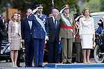 Prince Fellipe of Spain (c-l), Juan Carlos I King of Spain (c-r), Princess Letizia of Spain (l) and Sofia Queen of Spain attend the National Day Military Parad.October 12,2012.(ALTERPHOTOS/Pool)
