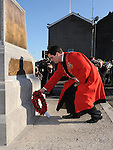 Mayor of Drogheda Kevin Callan lays a wreath at the annual memorial cermony at the Cenotaph. Photo: Colin Bell/pressphotos.ie