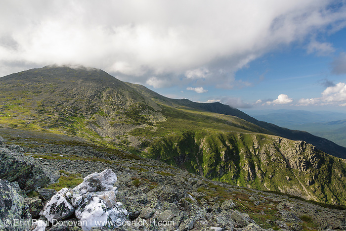 Mount Washington from Davis Path in the White Mountains, New Hampshire USA during the summer months. Tuckerman Ravine is on the right.