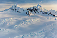 Spring landscape aerial view of snow-covered Chugach Mountains  and ice falls   April 2017<br /> <br /> Photo by Jeff Schultz/SchultzPhoto.com  (C) 2017  ALL RIGHTS RESERVED