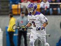 TD Ierlan (#3) moves into the attack as UAlbany Men's Lacrosse defeats Richmond 18-9 on May 12 at Casey Stadium in the NCAA tournament first round.