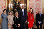 Prince Felipe of Spain and Princess Letizia of Spain with the winner Jose Caballero Bonald and his wife Josefa Ramis and daughters during reception at Cervantes Prize for Literature 2013.April 22 ,2013. (ALTERPHOTOS/Acero/Pool)