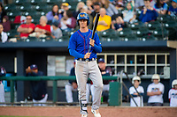 Midland RockHounds infielder Kevin Merrell (6) waits in the on-deck circle on May 4, 2019, at Arvest Ballpark in Springdale, Arkansas. (Jason Ivester/Four Seam Images)