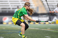 Towson, MD - March 25, 2017: Oregon Ducks Mariah Gatti (30) gets the ground ball during game between Towson and Oregon at  Minnegan Field at Johnny Unitas Stadium  in Towson, MD. March 25, 2017.  (Photo by Elliott Brown/Media Images International)
