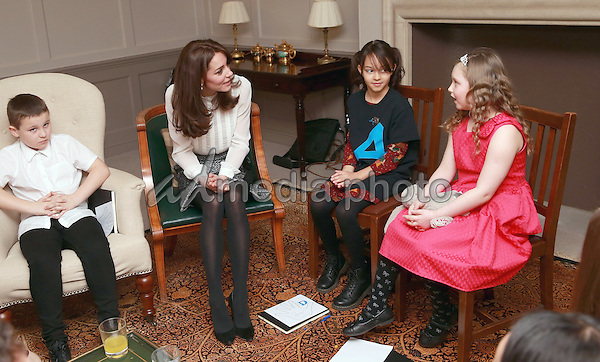 17 February 2016 - London, England - Kate Duchess of Cambridge Catherine Katherine Middleton chats with Hayden Pearce, Solei Neil-Brown and Kiera Mullins (R) from the 'Real Truth' video at Kensington Palace in London. The Duchess of Cambridge is supporting the launch of the Huffington Post UK's initiative 'Young Minds Matter' by guest editing the Huffington Post UK today from Kensington Palace. Photo Credit: Alpha Press/AdMedia