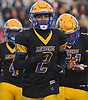 Carlos Duran #2 of Lawrence heads back to the sideline after making an interception in the fourth quarter of the Nassau County Conference III varsity football semifinals against Bethpage at Hofstra University on Saturday, Nov. 11, 2017.