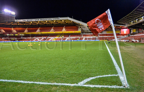 26.01.2016. City Ground, Nottingham, England. Skybet Championship. Nottingham Forest versus Queens Park Rangers. A wide view of the City Ground pitch and windswept corner flag before the match.