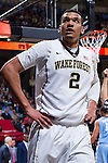Devin Thomas (2) of the Wake Forest Demon Deacons during first half action against the North Carolina Tar Heels at the LJVM Coliseum on January 21, 2015 in Winston-Salem, North Carolina.  The Tar Heels defeated the Demon Deacons 87-71.  (Brian Westerholt/Sports On Film)