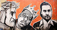 Title Wall of Fame, Artist  JB Rock<br /> This is a 60 meters mural showing famous faces like the Hall of Fame. Dante Alighieri<br /> Rome February 7th 2019. Street Art in Rome, Ostiense<br /> district. Very important writers painted Murales in various districts of Rome to tell stories about the city, to commemorate important moments, to embellish the quarter or simply to portray it.  <br /> Photo Samantha Zucchi Insidefoto