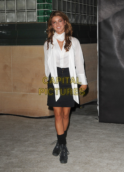 SHENAE GRIMES .at the Vanity Fair and Burberry preview of the Vanity Fair Portraits 1913?2008 exhibition at LACMA in Hollywood, California, USA, October 21st 2008.                                                                     .full length white shirt scarf black skirt biker boots socks   .CAP/DVS.©Debbie VanStory/Capital Pictures