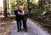 United States President Bill Clinton and U.S. Vice President Al Gore Gore at the Washington Summit at Wye River on Sunday, October 18, 1998..Mandatory Credit: White House via CNP