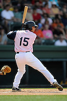 Right fielder Forrestt Allday (15) of the Greenville Drive bats in a game against the West Virginia Power on Sunday, May 11, 2014, at Fluor Field at the West End in Greenville, South Carolina. Greenville won, 9-6. (Tom Priddy/Four Seam Images)