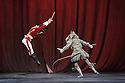 London, UK. 13.12.2016. English National Ballet presents NUTCRACKER, at the London Coliseum. Choreography by Wayne Eagling, based on a concept by Toer van Schayk and Wayne Eagling, music by Pyotr Ilyich Tchaikovsky, design by Peter Farmer, lighting by David Richardson. Picture shows: James Forbat (Nutcracker), James Streeter (Mouse King). Photograph © Jane Hobson.,