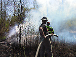 Volunteer firefighters at spring brush fire