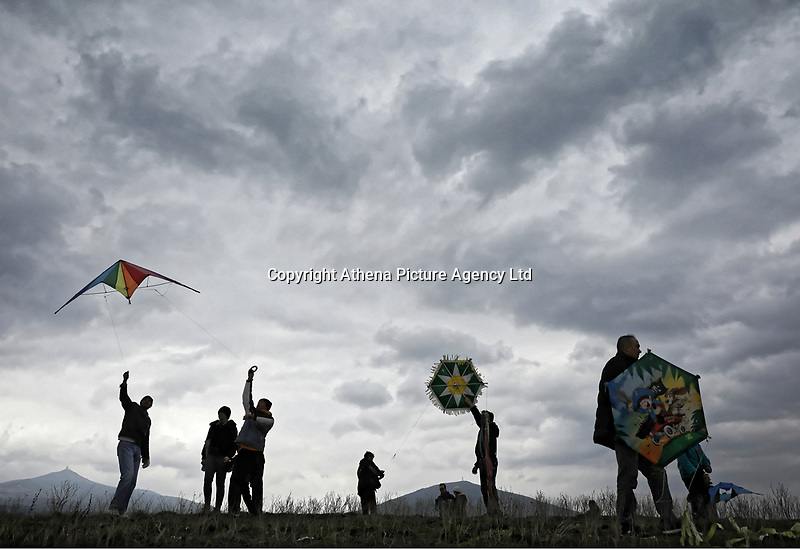 Pictured: The traditional flying of paper kites in Thermi near Salonica, Greece. Monday 19 February 2018<br /> Re: Celebration for Clean Monday (Monday of Lent) which marks 40 days before the celebration of Easter according to the Orthodox Religion, Greece