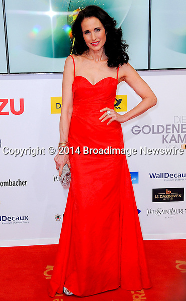 Pictured: Andie MacDowell<br /> Mandatory Credit &copy; Adhemar Sburlati/Broadimage<br /> 2014 Goldene Kamera Awards - Arrivals<br /> <br /> 2/6/14, Munich, , Germany<br /> <br /> Broadimage Newswire<br /> Los Angeles 1+  (310) 301-1027<br /> New York      1+  (646) 827-9134<br /> sales@broadimage.com<br /> http://www.broadimage.com