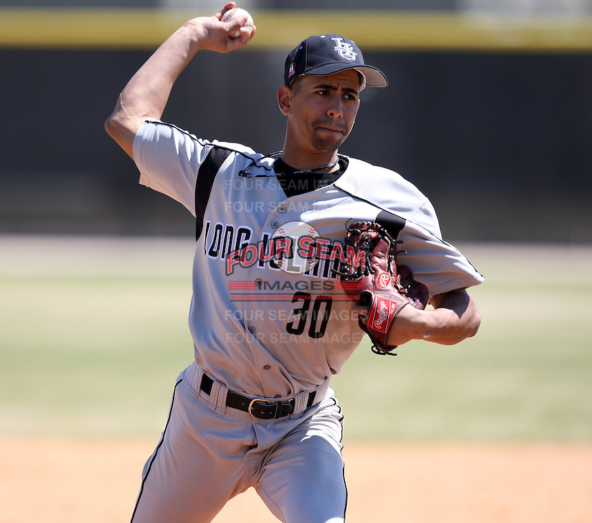 March 15, 2010:  Pitcher Emerson Morillo (30) of the Long Island University Blackbirds vs. UMBC at Lake Myrtle Park in Auburndale, FL.  Photo By Mike Janes/Four Seam Images