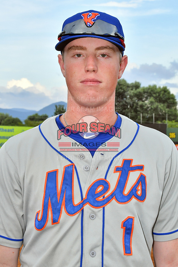 Kingsport Mets designated hitter Brett Baty (1) poses for a photo before a game against the Elizabethton Twins at Joe O'Brien Field on July 6, 2019 in Elizabethton, Tennessee. The Twins defeated the Mets 5-3. (Tony Farlow/Four Seam Images)