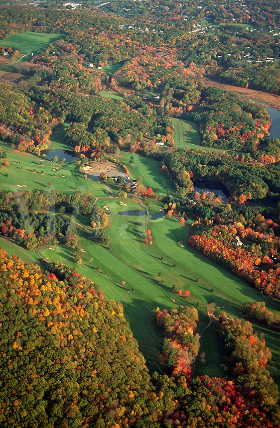 Aerial of a golf course. Massachusetts.