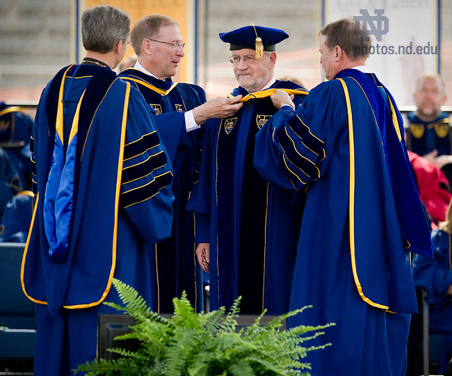 May 22, 2011; Michael J. Brennan receives an honorary doctor of laws degree at the 2011 Commencement ceremony...Photo by Matt Cashore/University of Notre Dame