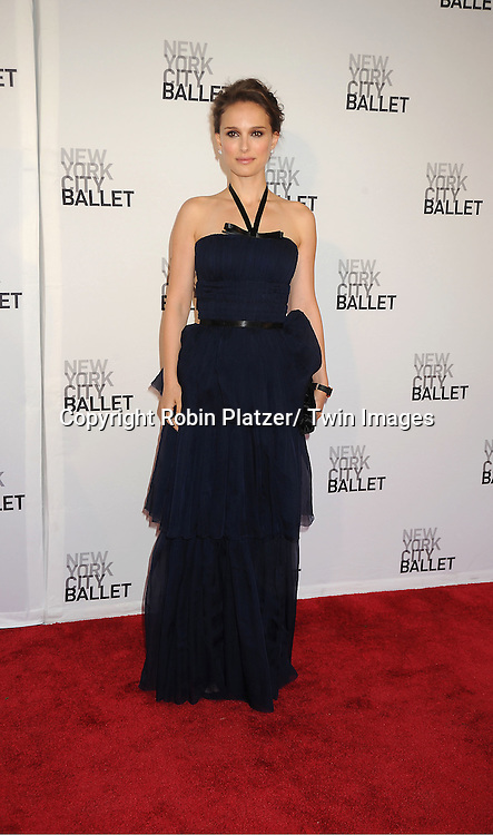 Natalie Portman in a Dior Blue dress attends the New York City Ballet Spring Gala on May 10, 2012 at David Koch Theater in Lincoln Center in New York City.