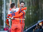 ROTTERDAM - Mirco Pruijser (NED) heeft de stand op 2-0 gebracht  tijdens de Pro League hockeywedstrijd heren, Nederland-Spanje (4-0).  links Floris Wortelboer . ANP KOEN SUYK