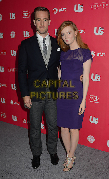 James Van Der Beek, Kimberly Brook.Us Weekly hosts annual Hot Hollywood Style issue celebrating 2013 fashionable style celebrities, Hollywood, California, USA, .18th April 2013..full length grey gray trousers waistcoat blue navy jacket tie blazer purple dress sheer arm around .CAP/ADM/BT.©Birdie Thompson/AdMedia/Capital Pictures