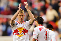 Tim Ream (5) of the New York Red Bulls  salutes the fans after the game. The New York Red Bulls defeated the Philadelphia Union 2-1 during a Major League Soccer (MLS) match at Red Bull Arena in Harrison, NJ, on April 24, 2010.