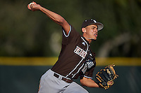 St. Bonaventure Bonnies starting pitcher Aaron Phillips (13) delivers a pitch during a game against the Dartmouth Big Green on February 25, 2017 at North Charlotte Regional Park in Port Charlotte, Florida.  St. Bonaventure defeated Dartmouth 8-7.  (Mike Janes/Four Seam Images)