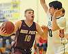 Josh Pismeny #10 of Deer Park, left, looks to shoot from close range as Gavin Bigelow #10 of South Side guards him during a non-league varsity boys basketball game in the Richard Brown Nassau-Suffolk Challenge at Uniondale High School on Saturday, Jan. 13, 2018.