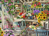 Dona Gelsinger, LANDSCAPES, LANDSCHAFTEN, PAISAJES,gardening,sunflowers, paintings+++++,USGE1840,#l#, EVERYDAY