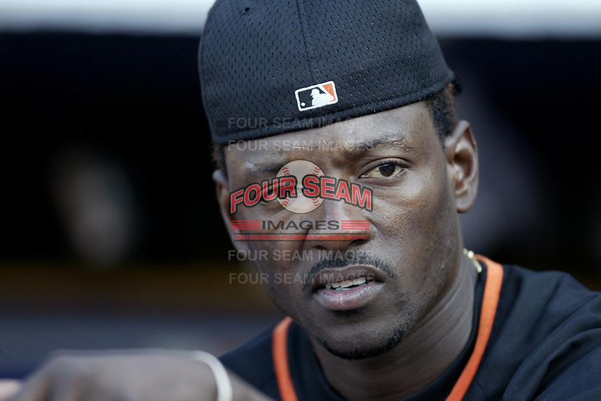 Manny Aybar of the San Francisco Giants before a 2002 MLB season game against the Los Angeles Dodgers at Dodger Stadium, in Los Angeles, California. (Larry Goren/Four Seam Images)