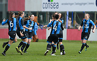 20180414 - AALTER , BELGIUM : Brugge's team pictured celebrating their goals and lead during the 21st matchday in the 2e Nationale Women's league , a womensoccer game between Club Brugge Dames and GFA Sinaai , in Aalter , saturday 15 th April 2018 . PHOTO SPORTPIX.BE | DAVID CATRY