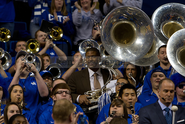Jalen Rose (center) and Jay Bilas (Right) joined in on the music during ESPN College Gameday in Lexington, Ky., on Saturday, February 23, 2013. Photo by Matt Burns   Staff
